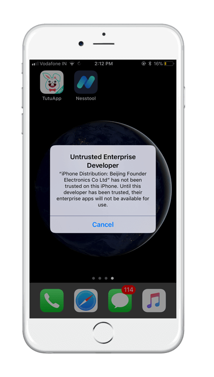 TUTUApp Untrusted Developer Error