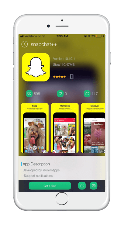 TUTUApp Snapchat++ Screenshot